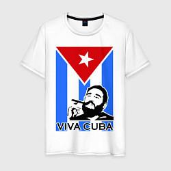 Футболка хлопковая мужская Fidel: Viva, Cuba! цвета белый — фото 1