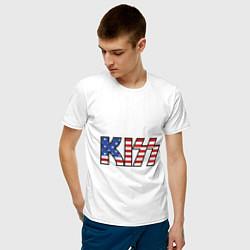 Футболка хлопковая мужская KIss USA цвета белый — фото 2