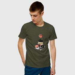 Футболка хлопковая мужская Милый Соевый соус цвета меланж-хаки — фото 2
