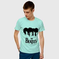Футболка хлопковая мужская The Beatles: Faces цвета мятный — фото 2