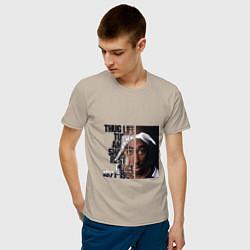 Мужская хлопковая футболка с принтом Tupac: 1971-1996, цвет: миндальный, артикул: 10134060100001 — фото 2
