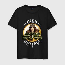 Мужская хлопковая футболка с принтом AC/DC: High voltage, цвет: черный, артикул: 10135597500001 — фото 1