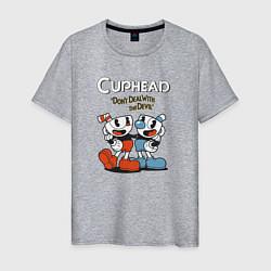 Футболка хлопковая мужская Cuphead Mugman цвета меланж — фото 1