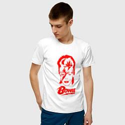 Футболка хлопковая мужская Дэвид Боуи цвета белый — фото 2