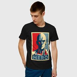Мужская хлопковая футболка с принтом Saitama Hero, цвет: черный, артикул: 10139982300001 — фото 2