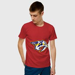 Футболка хлопковая мужская Nashville Predators: Radulov 47 цвета красный — фото 2