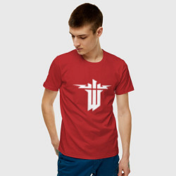Футболка хлопковая мужская Wolfenstein цвета красный — фото 2