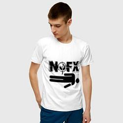 Футболка хлопковая мужская NOFX crushman цвета белый — фото 2