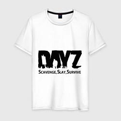 Футболка хлопковая мужская DayZ: Slay Survive цвета белый — фото 1