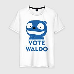 Футболка хлопковая мужская Vote Waldo цвета белый — фото 1