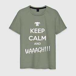 Футболка хлопковая мужская Keep Calm & WAAAGH цвета авокадо — фото 1