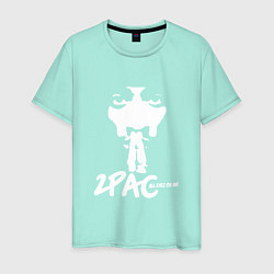 Мужская хлопковая футболка с принтом 2Pac: All Eyez On Me, цвет: мятный, артикул: 10146487100001 — фото 1