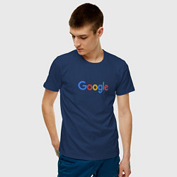 Футболка хлопковая мужская Google цвета тёмно-синий — фото 2