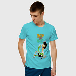 Футболка хлопковая мужская Sanjay and Craig цвета бирюзовый — фото 2