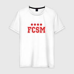 Футболка хлопковая мужская FCSM Club цвета белый — фото 1