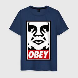 Футболка хлопковая мужская OBEY Face цвета тёмно-синий — фото 1