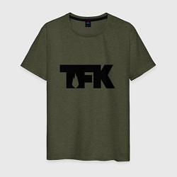 Футболка хлопковая мужская TFK: Black Logo цвета меланж-хаки — фото 1