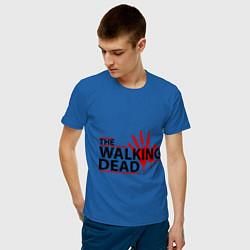 Мужская хлопковая футболка с принтом The Walking Dead, кровавый след, цвет: синий, артикул: 10015131700001 — фото 2
