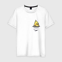 Мужская хлопковая футболка с принтом Попугай в кармане, цвет: белый, артикул: 10151587700001 — фото 1