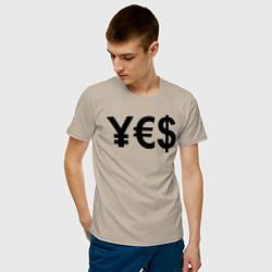 Футболка хлопковая мужская YE$ цвета миндальный — фото 2