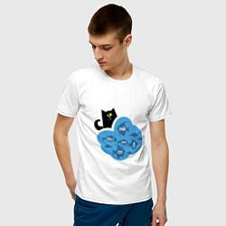 Футболка хлопковая мужская Кот программиста цвета белый — фото 2