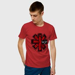 Футболка хлопковая мужская Red Hot Chili Peppers цвета красный — фото 2