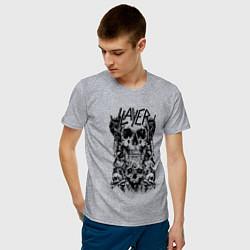 Футболка хлопковая мужская Slayer Skulls цвета меланж — фото 2