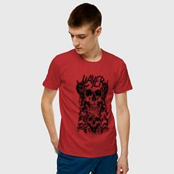 Футболка хлопковая мужская Slayer Skulls цвета красный — фото 2