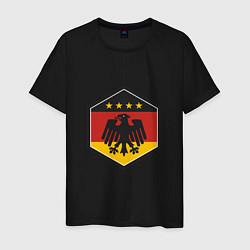 Футболка хлопковая мужская Немецкий фанат цвета черный — фото 1