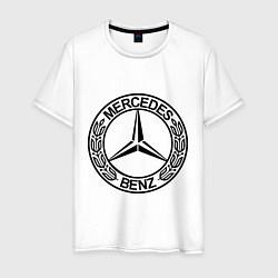 Мужская хлопковая футболка с принтом Mercedes-Benz, цвет: белый, артикул: 10015734600001 — фото 1