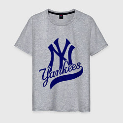 Футболка хлопковая мужская NY - Yankees цвета меланж — фото 1