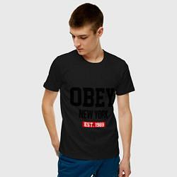 Футболка хлопковая мужская Obey Est. 1989 цвета черный — фото 2