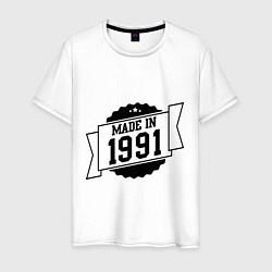 Футболка хлопковая мужская Made in 1991 цвета белый — фото 1