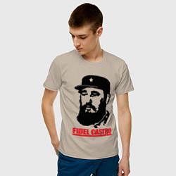 Футболка хлопковая мужская Fidel Castro цвета миндальный — фото 2
