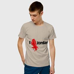 Футболка хлопковая мужская I love zombies цвета миндальный — фото 2