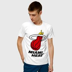 Футболка хлопковая мужская Miami Heat-logo цвета белый — фото 2