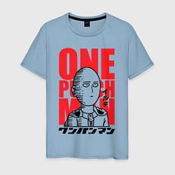 Мужская хлопковая футболка с принтом Ok Hero, цвет: мягкое небо, артикул: 10162187500001 — фото 1