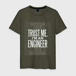 Футболка хлопковая мужская I'm an Engineer цвета меланж-хаки — фото 1