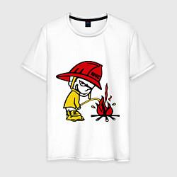 Футболка хлопковая мужская Ручной пожарник цвета белый — фото 1