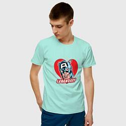 Футболка хлопковая мужская Capt America: Legendary heart цвета мятный — фото 2