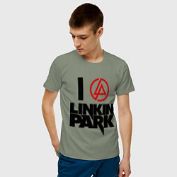 Футболка хлопковая мужская I love Linkin Park цвета авокадо — фото 2