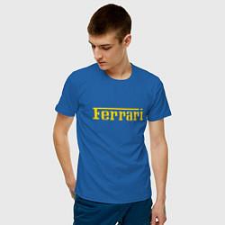 Футболка хлопковая мужская FERRARI цвета синий — фото 2