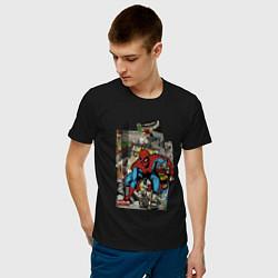 Футболка хлопковая мужская Spider-man comics цвета черный — фото 2