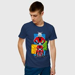 Футболка хлопковая мужская Человек-муравей комикс цвета тёмно-синий — фото 2
