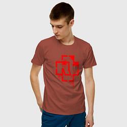 Футболка хлопковая мужская Rammstein: Red Logo цвета кирпичный — фото 2
