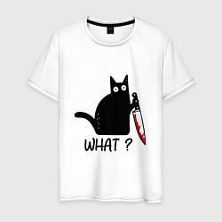 Футболка хлопковая мужская What cat цвета белый — фото 1