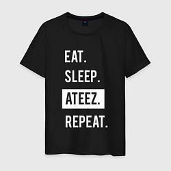 Мужская хлопковая футболка с принтом ЕСТЬ СПАТЬ ATEEZ ПОВТОРИТЬ, цвет: черный, артикул: 10196144900001 — фото 1