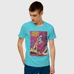 Футболка хлопковая мужская Единорог Атакует цвета бирюзовый — фото 2