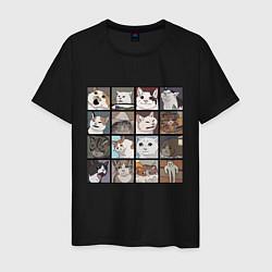 Мужская хлопковая футболка с принтом Коты из мемов, цвет: черный, артикул: 10200658700001 — фото 1