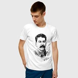Футболка хлопковая мужская Товарищ Сталин цвета белый — фото 2